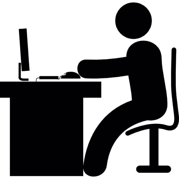 Man In Office Desk With Computer Free Icon