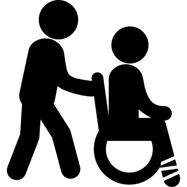 Man Pushing A Wheels Chair With Person Sitting On It With