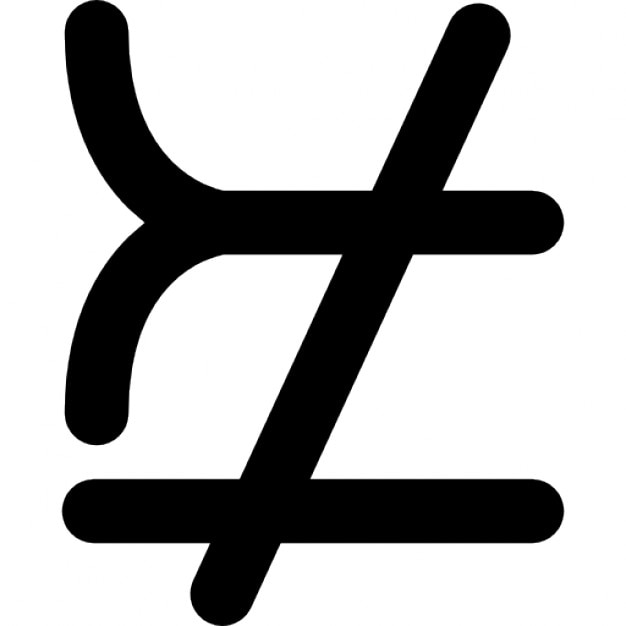 Mathematical Symbols That Does Not Match Or Equal Icons Free Download
