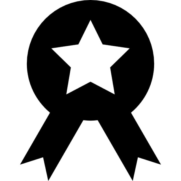Medal Circle With A Star And Ribbon Tails Icons Free Download