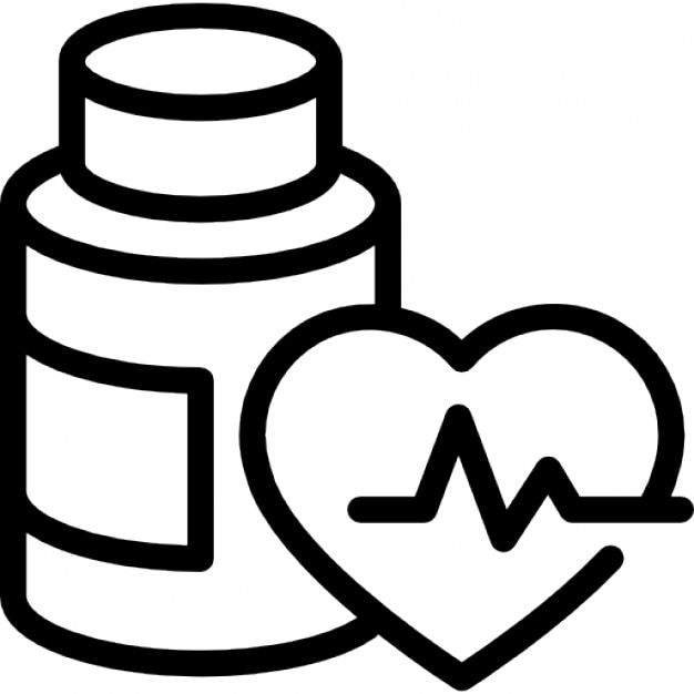 medication bottle outline and heart with life line icons free download rh freepik com Clip Art Medical Supplies Clip Art Medical Supplies