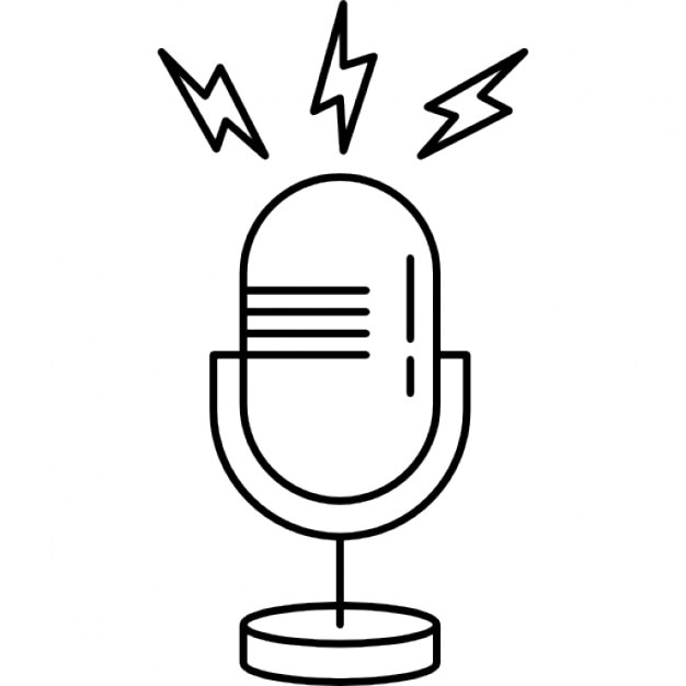 microphone outline with opened line icons