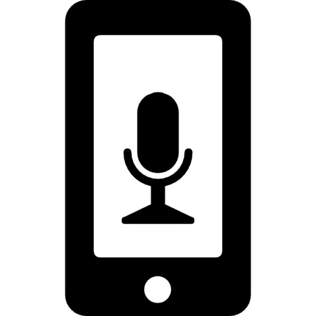 Microphone Voice Interface Symbol On Phone Screen Icons