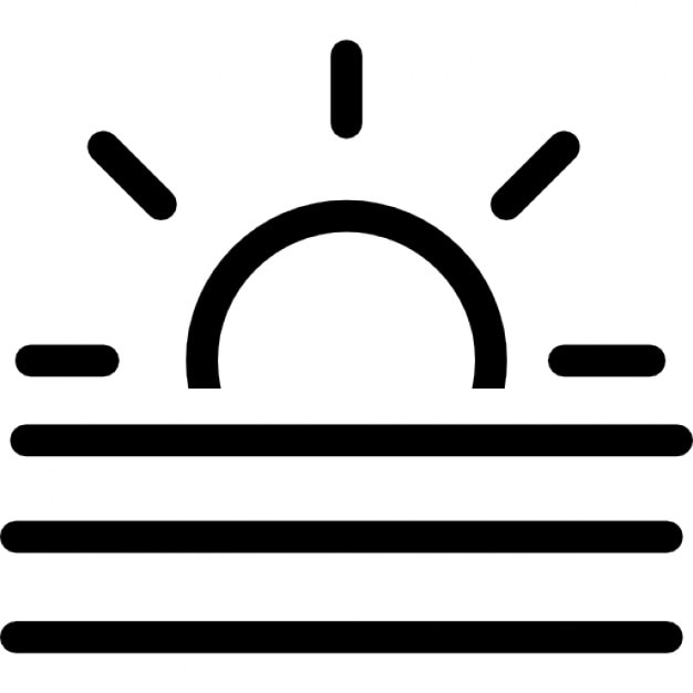 Misty Day Weather Symbol Or Sunrise Or Sunset At Sea Icons Free