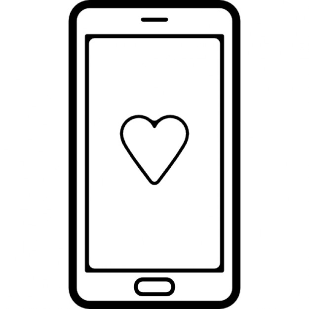 Mobile Phone With A Heart Symbol On Screen Icons Free Download