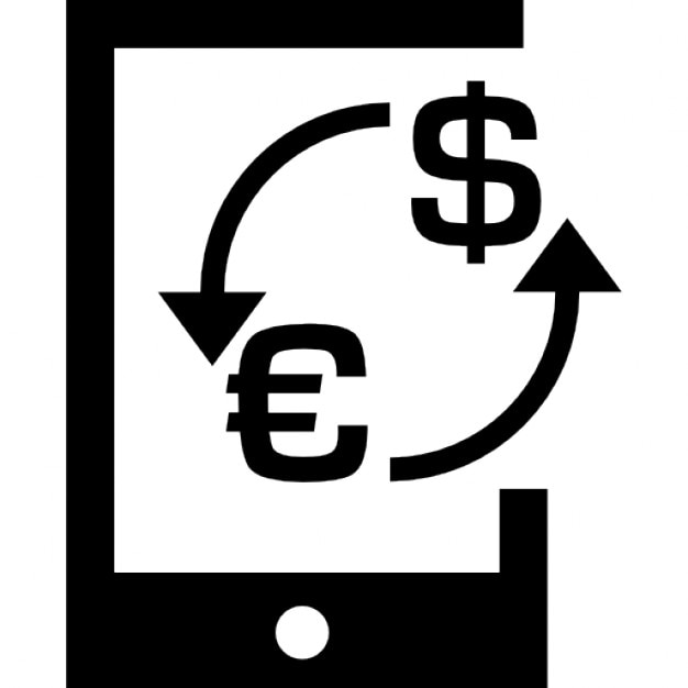 Money Euro Dollar Exchange Symbol On A Tablet Icons Free Download