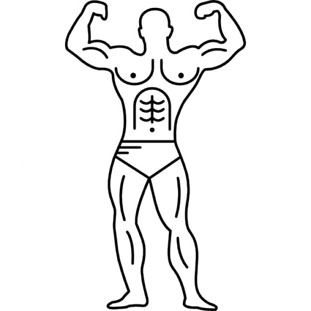 muscular outline of a bodybuilder flexing icons free download
