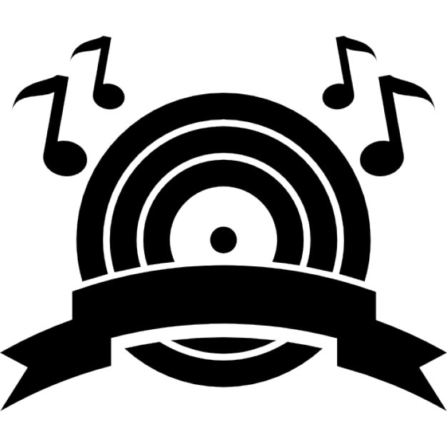 Music Boom Symbol Of A Musical Disc With Musical Notes And A Ribbon