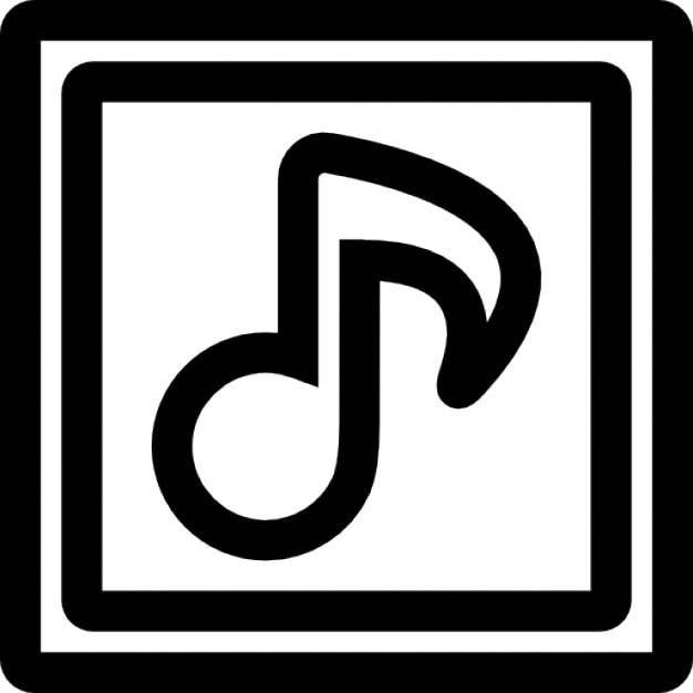Musical Note Outline Symbol Inside Two Squares Icons Free Download