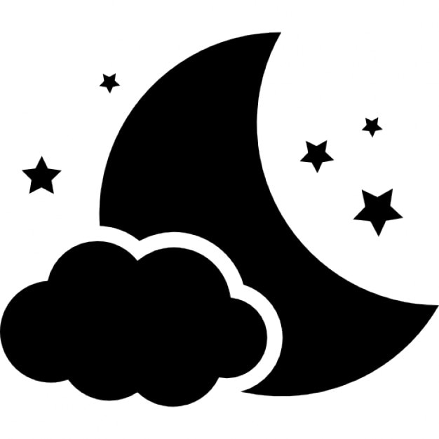 Night symbol of the moon with a cloud and stars Icons ...