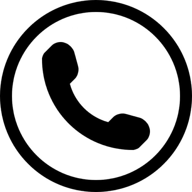 円の中に耳電話のシンボル 無料アイコン