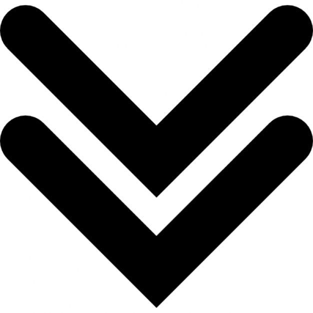二重の角度が下向きの矢印 無料アイコン