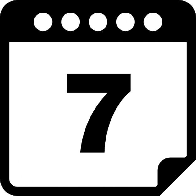 7日目のカレンダーのページ アイコン 無料ダウンロード