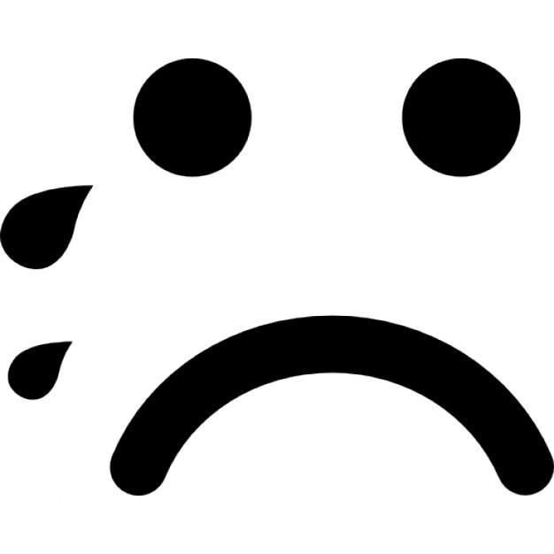 泣きの顔文字は、正方形の顔を丸め 無料アイコン
