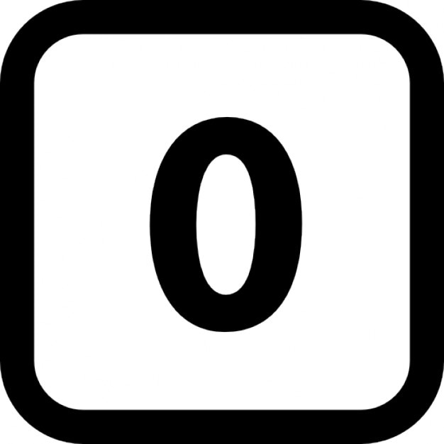 Number zero in a square with rounded corners Free Icon