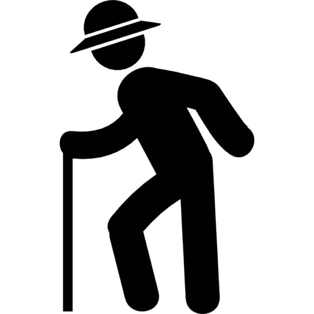 Old Man With Hat Walking With A Stick Icons  Free Download-2714