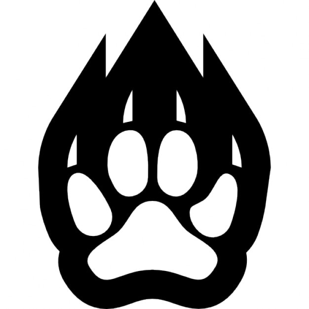 paw footprint outline of a feline animal icons free download
