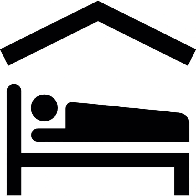 Person lying on bed inside a home Free Icon