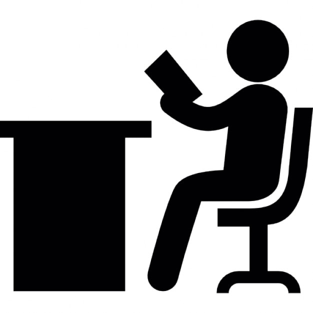 person reading sitting on a desk icons free download