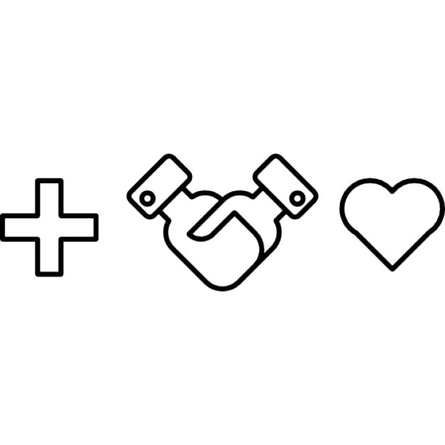 plus sign with shaking hands and heart shape icons free