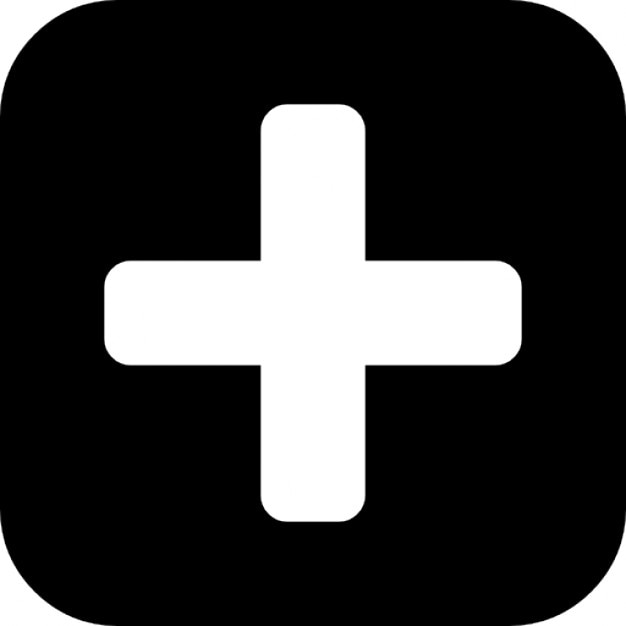 Plus Symbol In A Rounded Black Square Icons Free Download