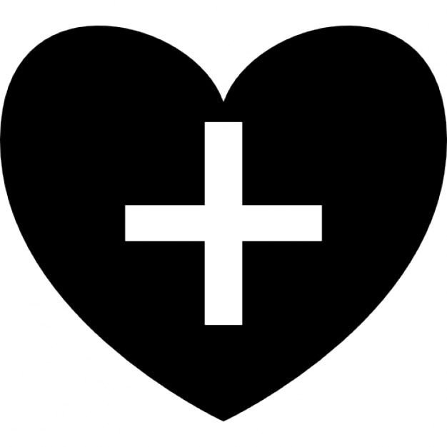 Positive Heart Symbol Shape With Plus Sign Icons Free Download
