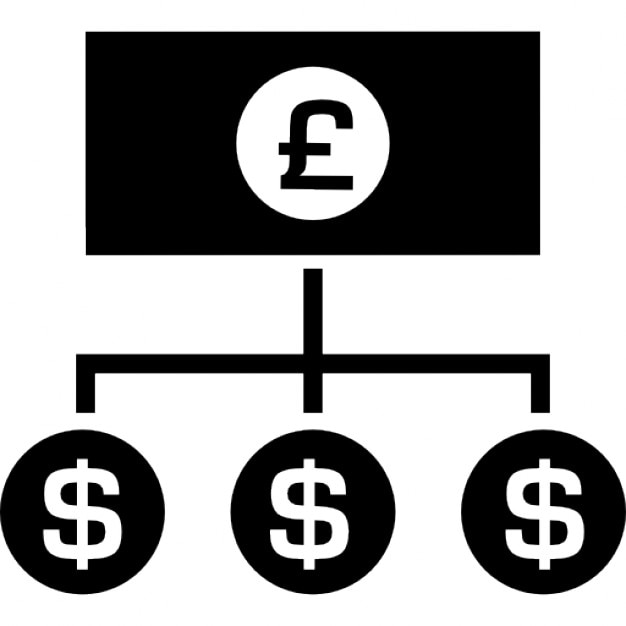 Pounds Money Bill With Down Lines To Dollars Coins Icons Free Download
