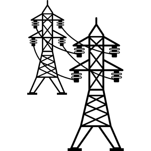 Line Art Icon : Power line connected towers icons free download