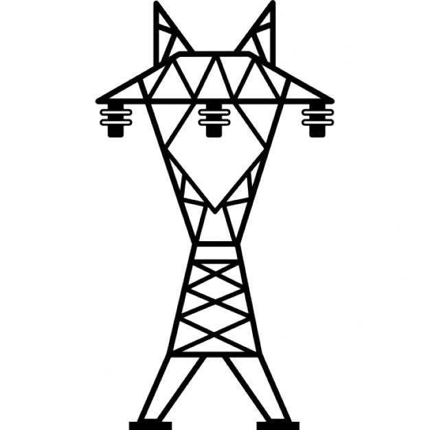 power line with three insulators icons