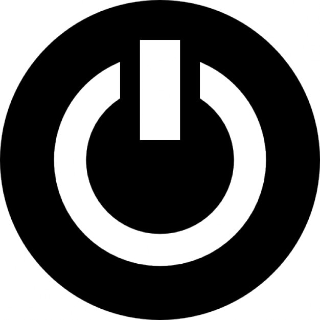 Power Symbol In A Circle In Black And White Icons Free Download