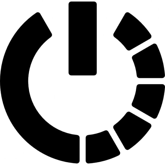 Power Symbol Variant With Half Circle Of Broken Line Icons Free