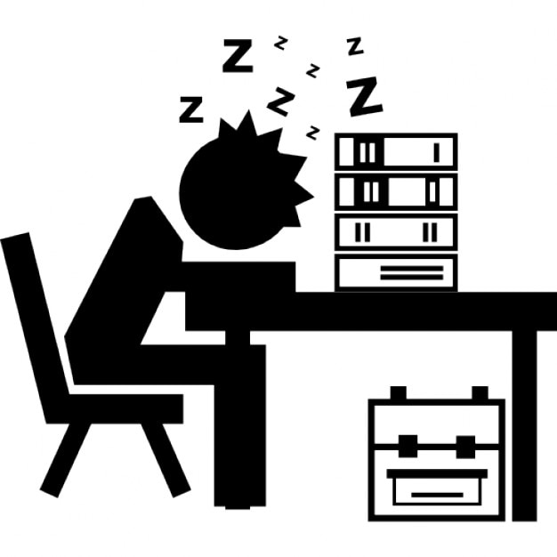 Book Icon Vector Male Student Or Teacher Person Profile: Professor Or Student Sleeping On His Desk With Books Stack