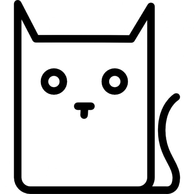Pussy cat cartoon outline variant Icons Free Download