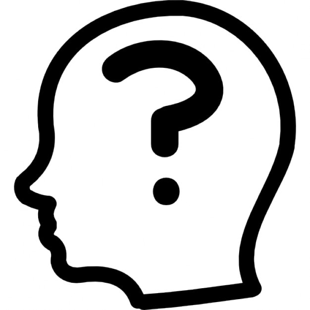 Question mark inside a bald male side head outline Icons ...