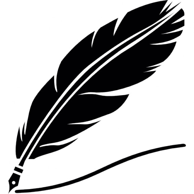 Quill silhouette with black ink Free Icon