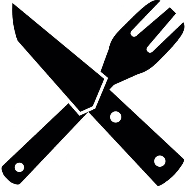 Restaurant Symbol Of A Cross Of Fork And Knife Couple Icons Free