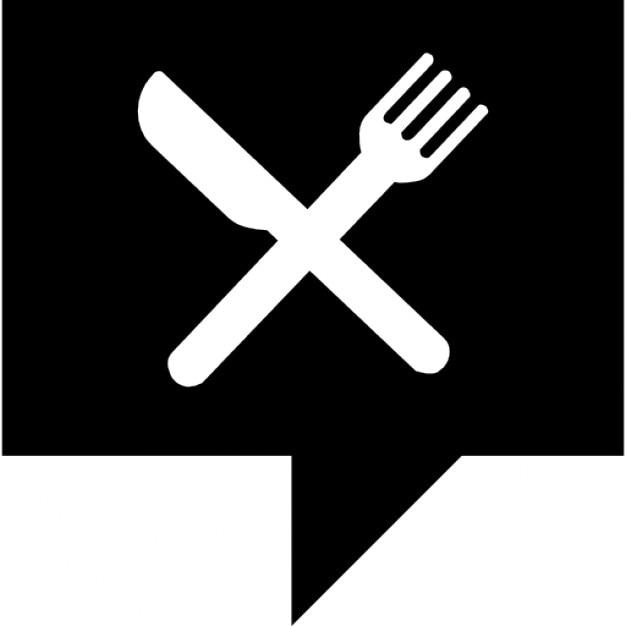 Restaurants News Symbol Of A Cross Of Fork And Knife Inside A Black
