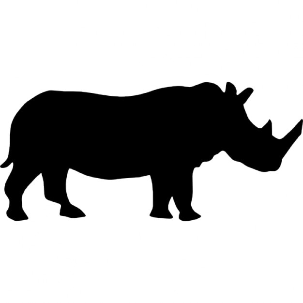 Rhino Side View Silhouette Icons Free Download