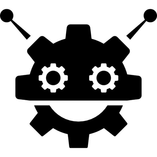 robocog logo of a robot with cogwheel head shape icons