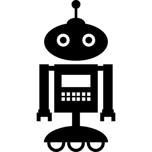 Robot standing over wheels with an antenna on the head ...