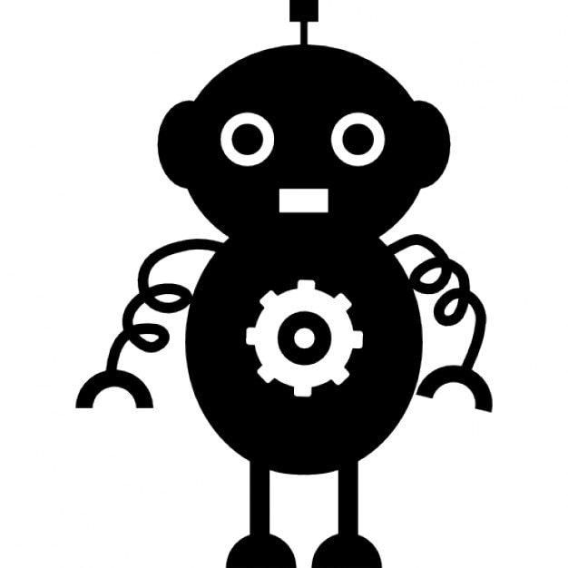 Rounded robot design with spirals arms Free Icon