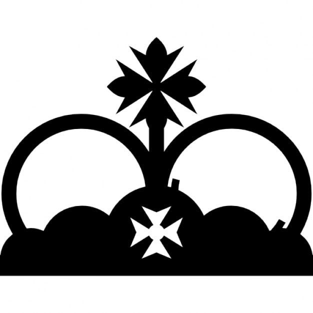 royal crown with two crosses like crusades symbol icons