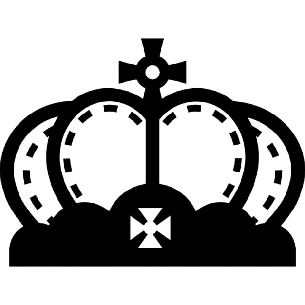 Royal Rounded Crown With Cross And Studs Icons Free Download