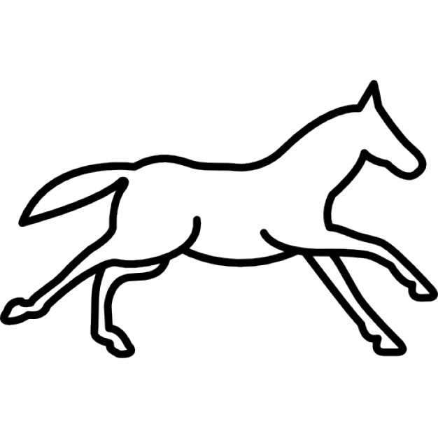 Running horse outline side view Icons | Free Download - photo#2
