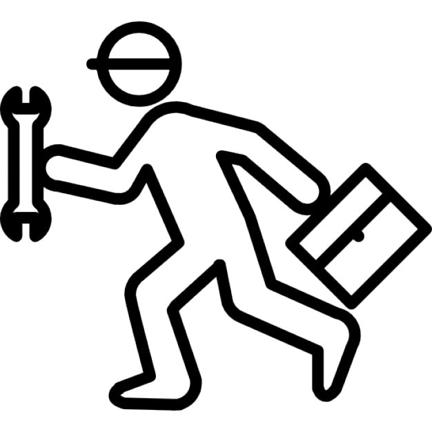 Running repair man with wrench and kit icons free download - Kit de reparation baignoire acrylique ...