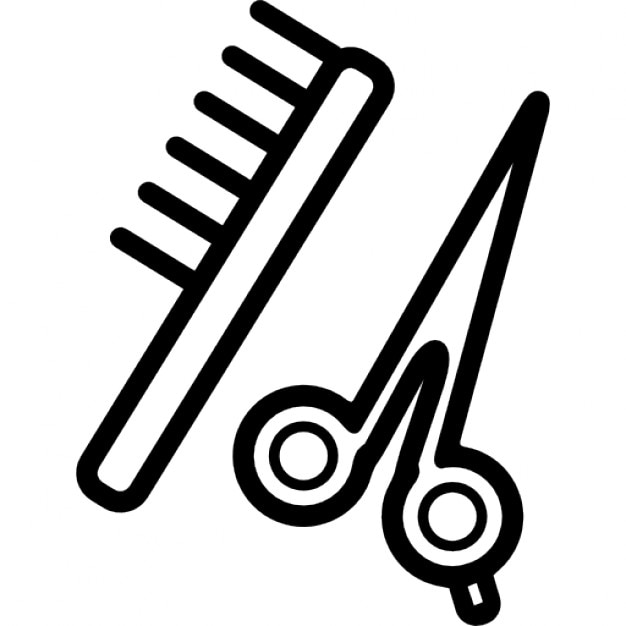 Scissors And Comb Outline Icons Free Download