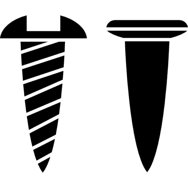 Screw and nail outlines side view Icons | Free Download