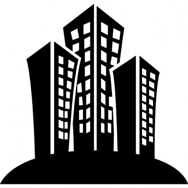 Set of buildings in a city Icons | Free Download