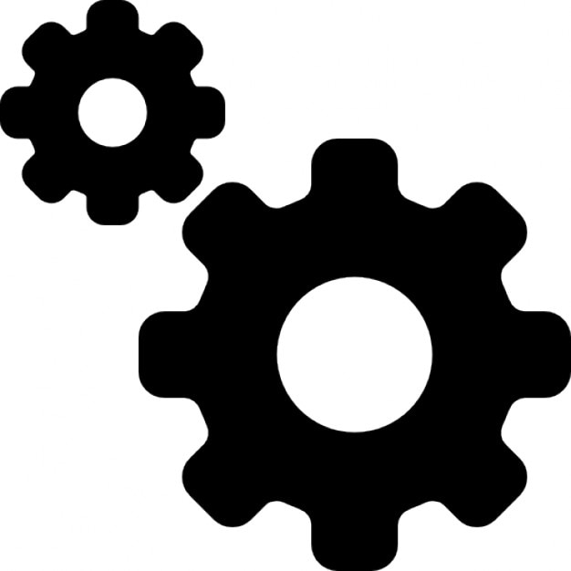 Settings Interface Symbol Of Two Gears Of Different Sizes Icons