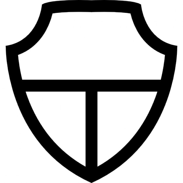 Shield White Shape Divided In Three Free Icon